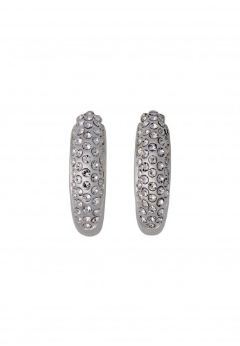 Pilgrim Adey Crystal Hoop Earrings, Silver