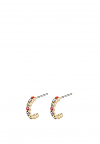 Pilgrim Brigitte Crystal Hoop Earrings, Gold Multi