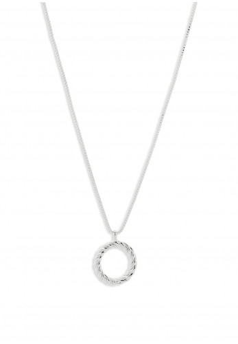 Pilgrim Cece Twisted Circle Pendant Necklace, Silver
