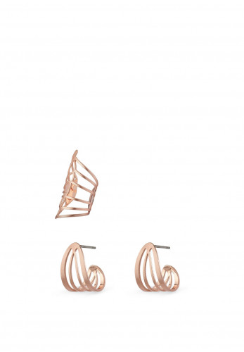 Pilgrim Frigg Earrings and Ear Cuff Set, Rose Gold