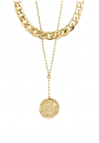 Pilgrim Compass 2 in 1 Necklace, Gold