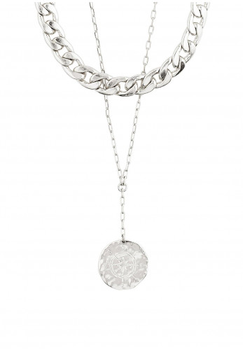 Pilgrim Compass 2 in 1 Necklace, Silver