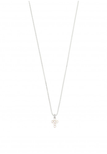 Pilgrim Lacey Pearl Cross Necklace, Silver