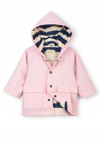 Hatley Baby Raincoat With Navy Stripe Lining, Pink