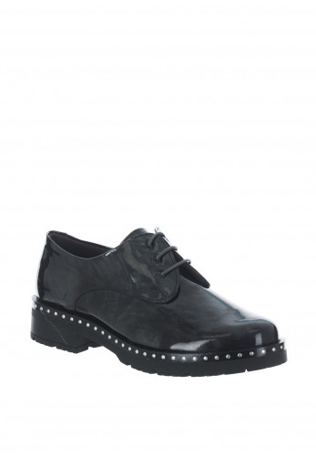 Pitillos Patent Leather Brogue Shoes, Dark Grey