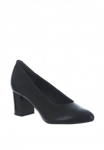 Pitillos Leather Pointed Toe Block Heel Shoes, Black