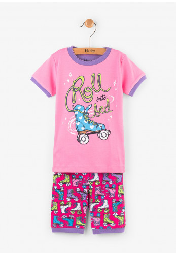 Hatley Girls Roller Girl Short Pajamas, Pink