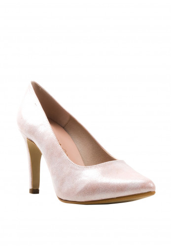 Pomares Shimmer Heel Court Shoes, Pink