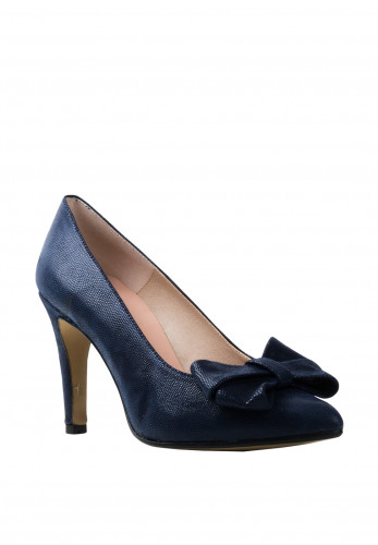Pomares Shimmer Bow Heel Court Shoes, Navy