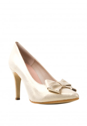 Pomares Shimmer Bow Heel Court Shoes, Gold