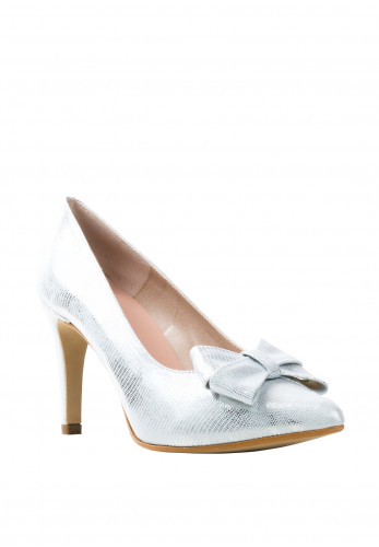 Pomares Snake Shimmer Bow Heel Court Shoes, Silver