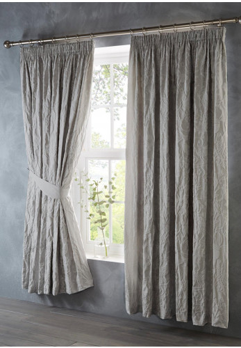 Portfolio Oak Tree Pencil Pleat Lined Curtains, Silver Grey
