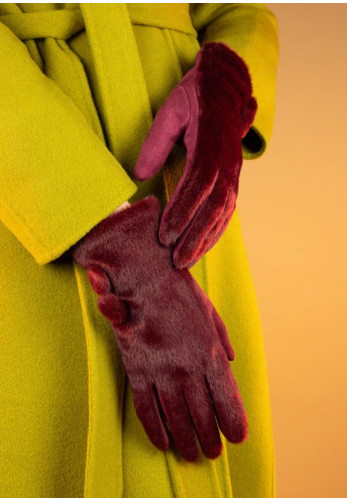 Powder Double Button Gloves, Red