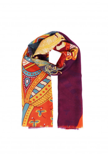 Powder Maharaja Tiger Print Scarf, Purple