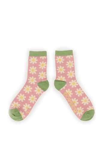 Powder Daisy Ankle Sock, Pink