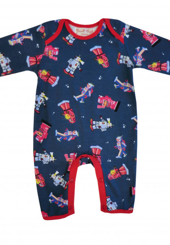 Powell Craft Retro Robot Sleepsuit, Navy