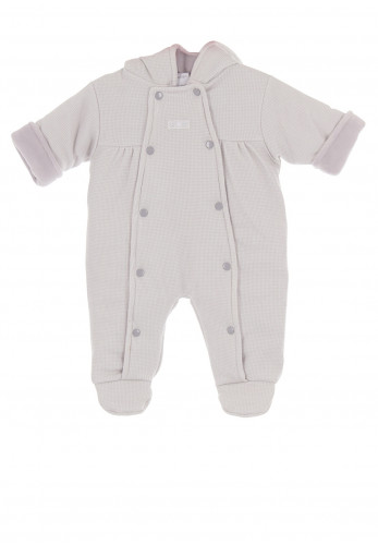 Dandelion Baby Check Padded Snowsuit, Grey