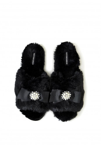Pretty You London Faux Fur Slider Slippers, Black