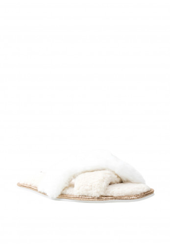 Pretty You London Slider Slippers, Cream