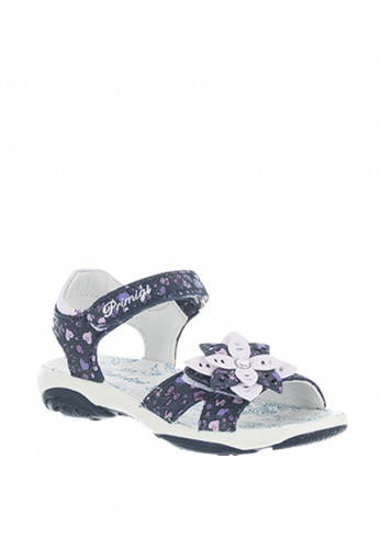 Primigi Girls Leather Flower Velcro Sandals, Navy