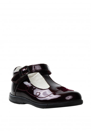 Primigi Patent Patent Butterfly T-Bar Shoes, Wine