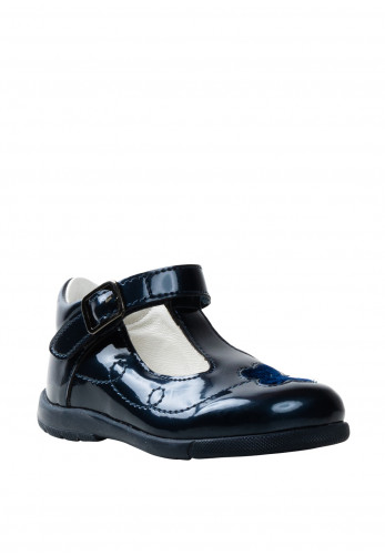 Primigi Patent Patent Butterfly T-Bar Shoes, Navy