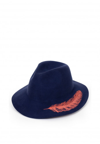 Powder Embroidered Feather Hat, Royal Blue