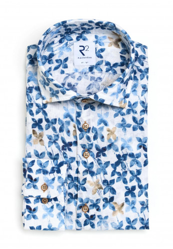 R2 Amsterdam Flower Print Long Sleeve Shirt, Blue
