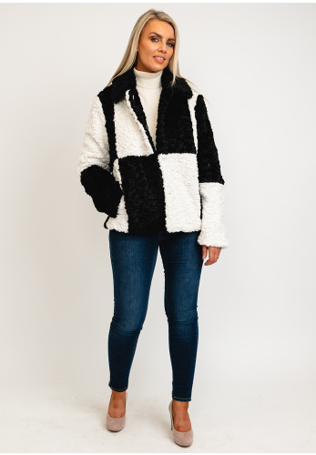 Jayley One Size Faux Shearling Checked Coat, Black & White