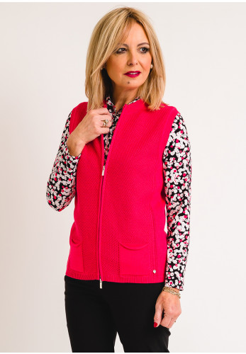 Rabe Knitted Gilet, Raspberry Pink