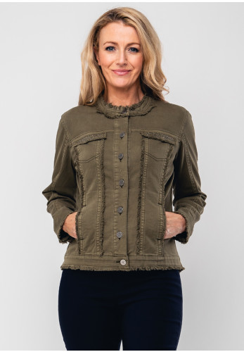 Rabe Stud Trim Denim Jacket, Khaki Green