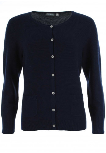 Rabe Ribbed Button Through Cardigan, Navy