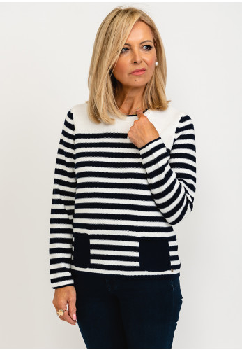 Rabe Stripes & Embroidery Pullover, Navy & White