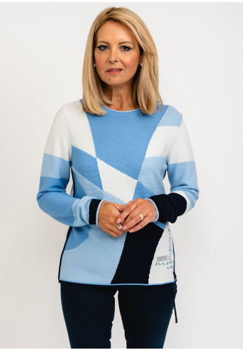 Rabe Shimmer Detail Abstract Panel Pullover, Blue Multi