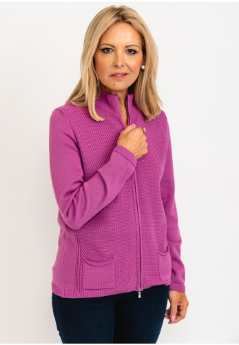 Rabe Knitted Zip Up Jacket, Purple