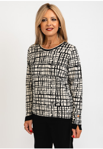 Rabe Abstract Geometric Square Print Pullover, Black Multi