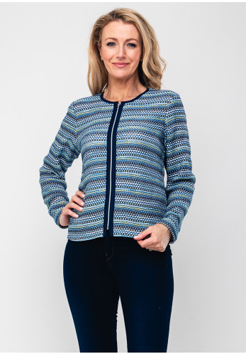 Rabe Zip Front Knit Cardigan, Blue Multi