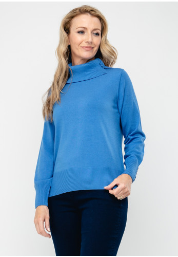 Rabe Button Trim Polo Neck Jumper, Blue