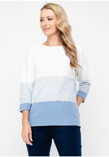 Rabe Ribbed Ombre Stripe Jumper, White & Blue