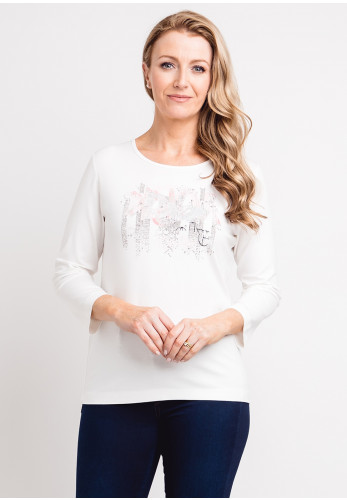 Rabe Glitter Print Jersey Top, Ivory