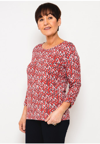 Rabe Abstract Print Cropped Sleeve T-Shirt, Red