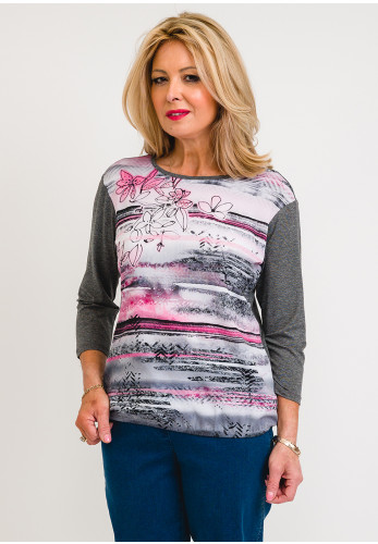 Rabe Chiffon Front Floral Top, Pink & Grey