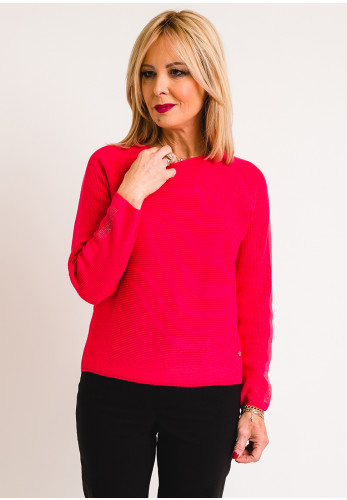 Rabe Embellished Cuff Knit Jumper, Raspberry Pink
