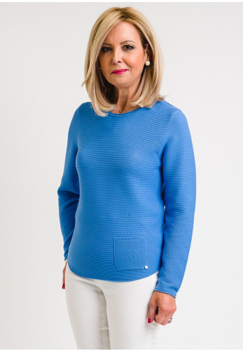 Rabe Front Pocket Ribbed Pullover, Blue