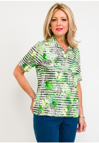 Rabe Striped Floral Polo T-Shirt, Green
