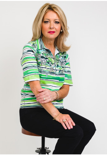 Rabe Floral Brushstroke Polo T-Shirt, Green