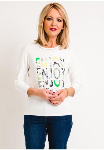 Rabe Text Print Cropped Sleeve T-Shirt, White