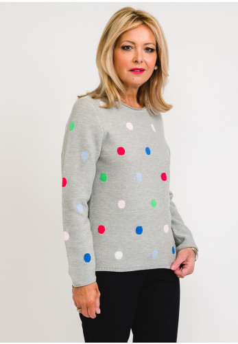 Rabe Ribbed Fine Knit Spotted Jumper, Grey Multi