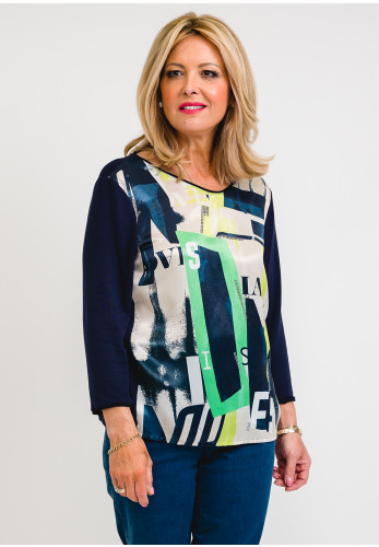 Rabe Satin Front Graphic Top, Navy Multi