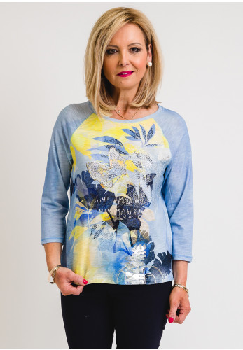 Rabe Floral and Embellished Crop Sleeve T-Shirt, Blue Multi